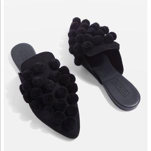 Topshop black Pom Pom flat mules